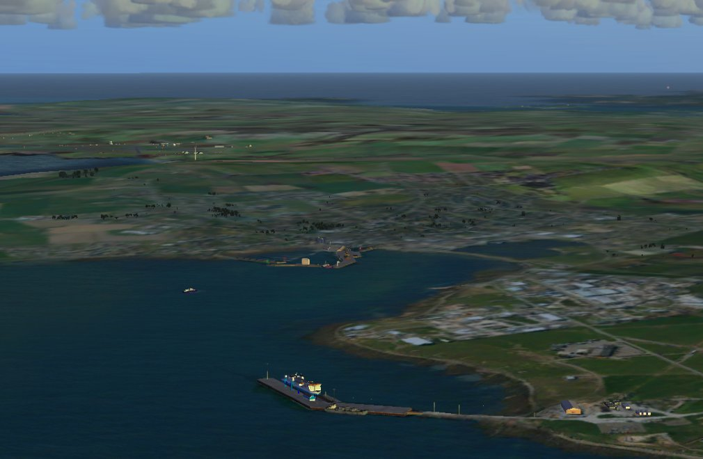 Screenshot - Hatston ferry terminal, with Kirkwall town and airport beyond